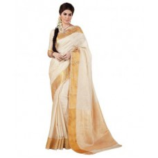 Deals, Discounts & Offers on Women Clothing - Ashika Designer Cream Color And Tussar Jacqurd Silk Saree