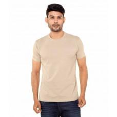 Deals, Discounts & Offers on Men Clothing - Fleximaa Beige Cotton Round Neck T- Shirt