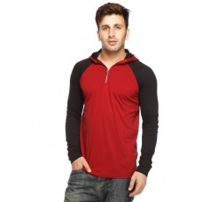 Deals, Discounts & Offers on Men Clothing - Gritstones Maroon-Black Hooded T Shirt