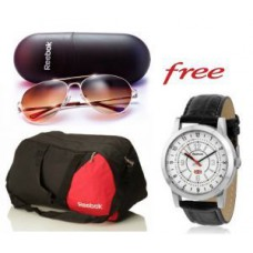 Deals, Discounts & Offers on Men - Reebok Gym Duffle Bag And Reebok Sunglasses With Free Reebok Watch