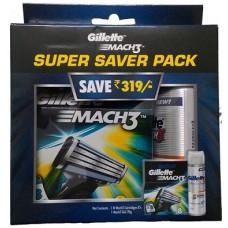 Deals, Discounts & Offers on Men - Gillette Mach3 Super Saver pack 8 cartridges with Free Gel 70g