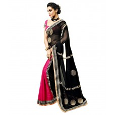 Deals, Discounts & Offers on Women Clothing - Abu Jani By Vishal Black & Pink Saree