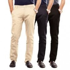 Deals, Discounts & Offers on Men Clothing - Pack of 3 Uber Urban 100 % Cotton Lycra Slim Fit Skeek Pant For Men