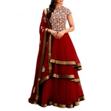 Deals, Discounts & Offers on Women Clothing - red georgette long gown suits dress material