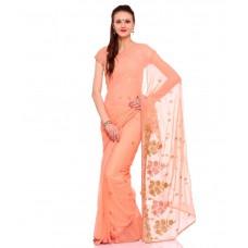 Deals, Discounts & Offers on Women Clothing - Flat 50% off on Ek Peach Chiffon Saree