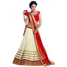 Deals, Discounts & Offers on Women Clothing - FabGruh Beige & Red Designer Lehenga