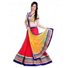 Deals, Discounts & Offers on Women Clothing - Anu Clothing Red Net Lehenga