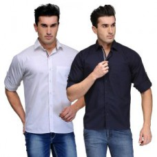 Deals, Discounts & Offers on Men Clothing - Tsx Mens Set Of 2 White-blue Cotton Shirt