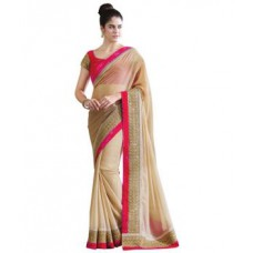 Deals, Discounts & Offers on Women Clothing - Flat 78% off on Janasya Women's Beige Color Chiffon Saree