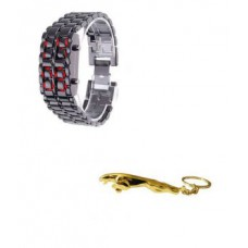 Deals, Discounts & Offers on Men - LED Display Cum Bracelet Watch With Golden Jaguar Keychain