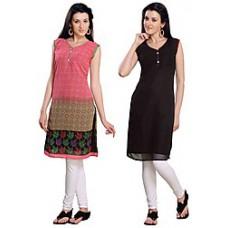 Deals, Discounts & Offers on Women Clothing - Shubhleen Combo Of 3 Chiffon Women Kurtis
