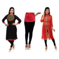Deals, Discounts & Offers on Women Clothing - Fibena 2 Kurti & 1 Legging Combo