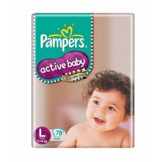 Deals, Discounts & Offers on Baby Care - Pampers Active Baby Diapers Size L (Large) (9-14kg)-78Pcs Diapers