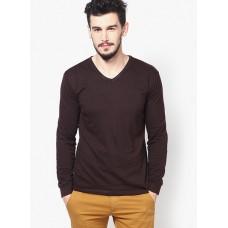Deals, Discounts & Offers on Men - Phosphorus Brown Solid V Neck T-Shirts