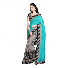 Deals, Discounts & Offers on Women Clothing - Pvr Fashions Blue Border Work Cotton Saree with Blouse Piece