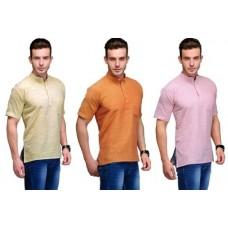 Deals, Discounts & Offers on Men Clothing - Flat 40% off on Korel 3 Casual Kurta Combo