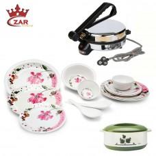Deals, Discounts & Offers on Home Appliances - Czar Combo of Elite 16 Pieces Melamine Dinner Set, Casserole & Roti Maker