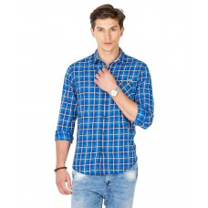 Deals, Discounts & Offers on Men Clothing - Mufti Blue Cotton Casual Shirt offer