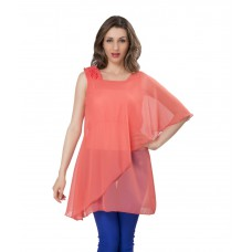 Deals, Discounts & Offers on Women Clothing - Ishin Casual Sleeveless Solid Women's Georgette Pink Western Top