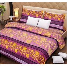 Deals, Discounts & Offers on Home Decor & Festive Needs - 3 Pcs Polycotton Double Bedsheet Set Purple-Flo at Rs 429 only