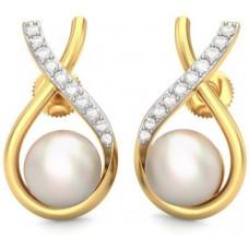 Deals, Discounts & Offers on Women - BlueStone Srisha Yellow Gold 14kt Diamond, Pearl Stud Earring