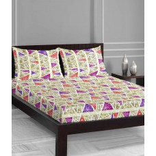 Deals, Discounts & Offers on Home Decor & Festive Needs - Welhome Symphony Lime Green & Purple Double Bedsheet With 2 Pillow Covers