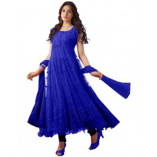 Deals, Discounts & Offers on Women Clothing - Madhav Creation Blue Net Digital Printed Anarkali Dress Material