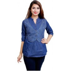 Deals, Discounts & Offers on Women Clothing - Blinkin Casual 3/4 Sleeve Solid Women's Blue Top
