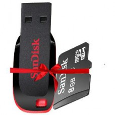 Deals, Discounts & Offers on Mobile Accessories - SanDisk 8GB Cruzer Blade Pen Drive + 8GB MicroSD Card