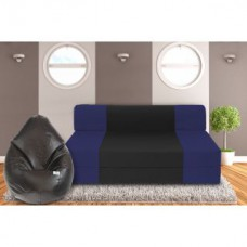 Deals, Discounts & Offers on Furniture - Dolphin Zeal 3 Seater Sofa Bed-N.Blue Black- XXL Black Bean Bag Cover Free