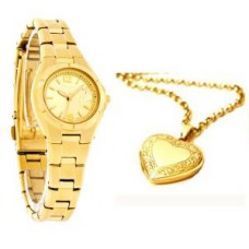 Deals, Discounts & Offers on Women - Gold Plated Watch With Heart Photo Pendant