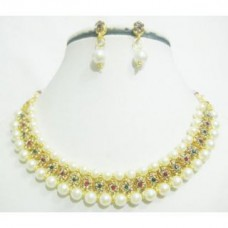Deals, Discounts & Offers on Earings and Necklace - Stri Fashion Moti Pearls Diamond studded Necklace & Earrings Jewellery Set