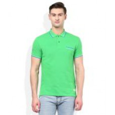Deals, Discounts & Offers on Men Clothing - United Colors of Benetton Green Polo Neck T Shirt