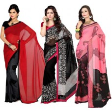 Deals, Discounts & Offers on Women Clothing - Parchayee Printed Fashion Georgette Sari - Pack of 3