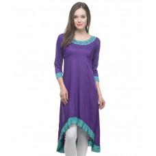 Deals, Discounts & Offers on Women Clothing - Lingra Purple Poly Rayon Long Plain Woven Kurti
