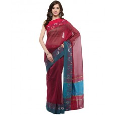 Deals, Discounts & Offers on Women Clothing - Flat 30% off on Dark Purple Banarasi Supernet Saree With Resham Work