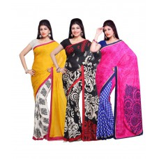 Deals, Discounts & Offers on Women Clothing - Aisha Art Crepe Printed Saree With Blouse Piece-combo Of 3