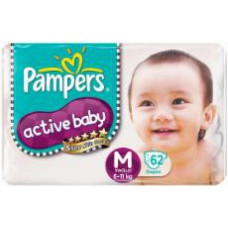 Deals, Discounts & Offers on Baby Care - Pampers Active Baby Diapers Medium 62 Pieces