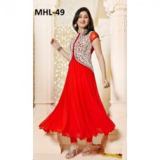 Deals, Discounts & Offers on Women Clothing - Shopeezo Daily Wear Red Color Foax Georgett Dress Semi-Stitched