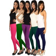 Deals, Discounts & Offers on Women Clothing - Rham Multi Colour Cotton Lycra Full Length Set Of 5 Leggings