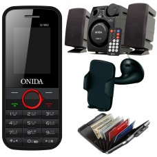 Deals, Discounts & Offers on Electronics - Onida G1802 Bar Phone, Intex 2.1 Channel Speaker & Acccessories Combo