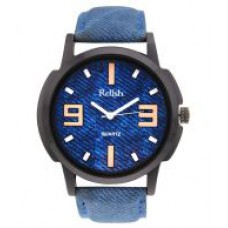 Deals, Discounts & Offers on Men - Flat 66% off on Relish Blue Leather Wrist Watch For Men