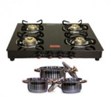 Deals, Discounts & Offers on Home & Kitchen - Prestige 4 Burner Glass Cooktop Gas Stove + Bati Stand + 6 pcs Induction Cookware Set