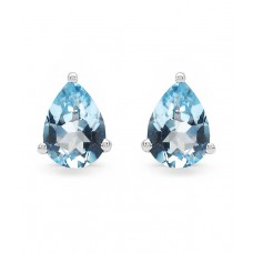 Deals, Discounts & Offers on Women - Johareez 925 Pure Silver 2.50 Grams Pear Shape Genuine Blue Topaz Earring Studs