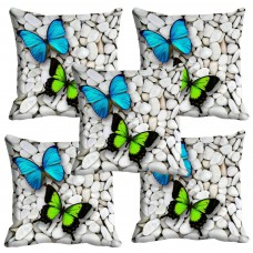 Deals, Discounts & Offers on Home Decor & Festive Needs - meSleep Colorful Butterfly 3D Cushion Cover (16X16) Set of 5