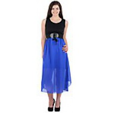 Deals, Discounts & Offers on Women Clothing - Sai Arisha Black & Blue Plain Women Midi Dress