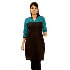 Deals, Discounts & Offers on Women Clothing - GMI Black Cotton Printed Chinese Collar Kurti