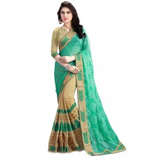 Deals, Discounts & Offers on Women Clothing - Kesar Sarees Green Georgette Saree