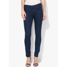 Deals, Discounts & Offers on Women Clothing - Navy Blue Solid Mid Rise Skinny Jeans