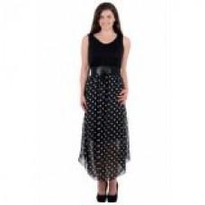 Deals, Discounts & Offers on Women Clothing - Kalki Black Polka Dotted Dress
